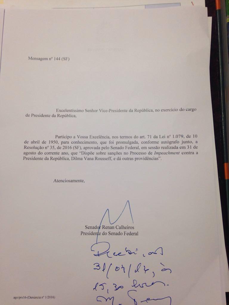 Mensagem do Senado em que Michel Temer é informado do impeachment