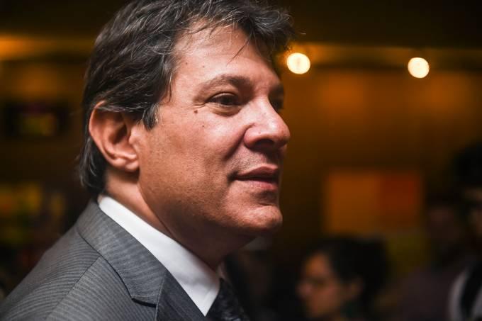 O prefeito de São Paulo, Fernando Haddad, durante evento organizado pelo Sinesp
