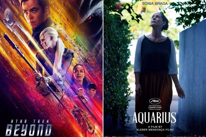 Pôsteres dos filmes StarTrek – Sem fronteiras e Aquarius