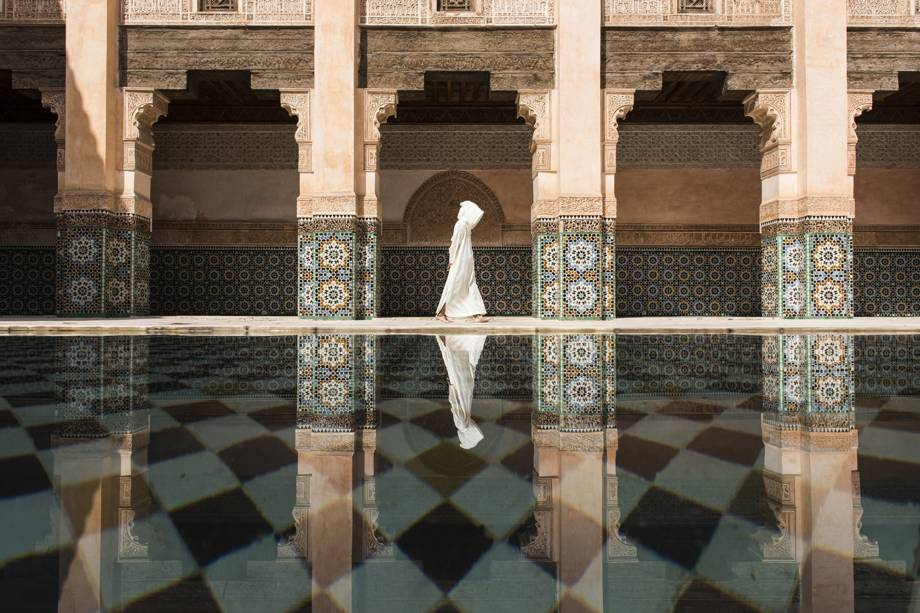 Cotidiano em um tempo no centro da cidade de Marraquexe, no Marrocos