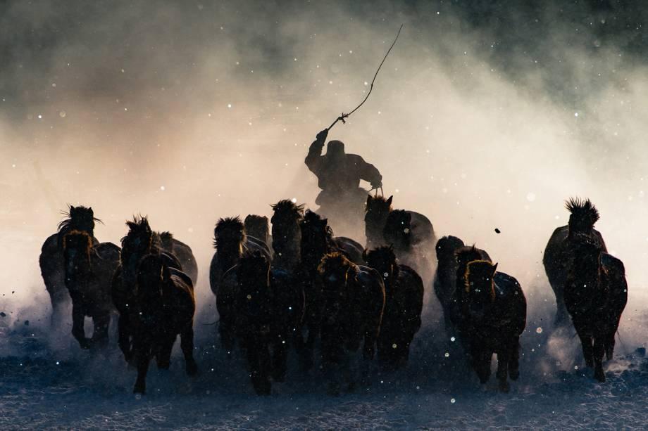Fotógrafo registra cuidador guiando sua tropa de cavalos em uma fria manhã na Mongólia