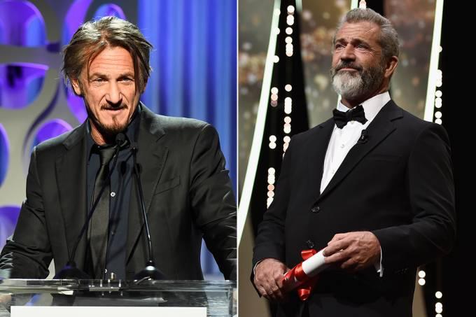Atores Sean Penn e Mel Gibson