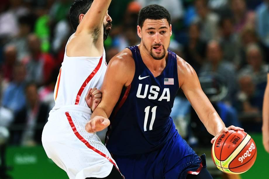 Klay Thompson, dos Estados Unidos, durante a semifinal de basquete contra a Espanha