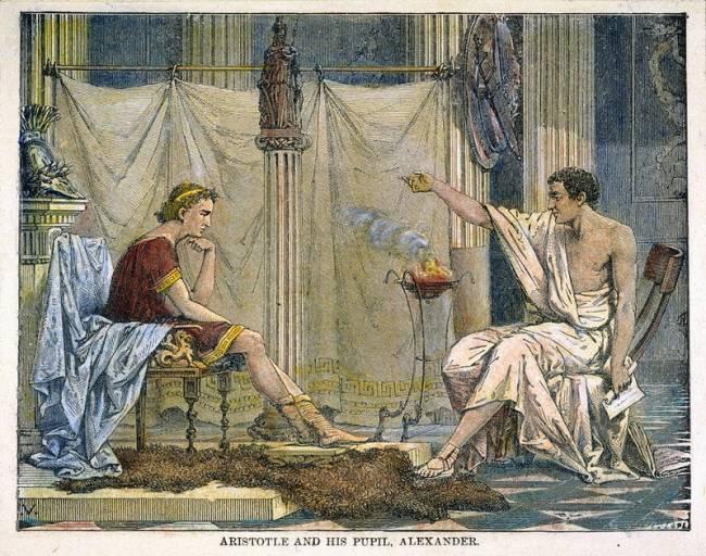 Aristóteles e seu pupilo Alexandre, o Grande