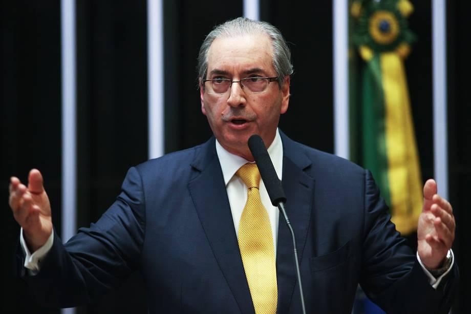 Eduardo Cunha faz sua defesa no plenário da Câmara dos Deputados antes do início da votação que decide pela sua cassação - 12/09/2016