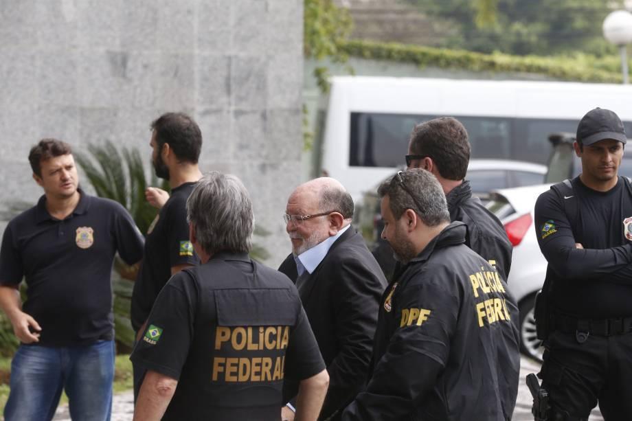 Léo Pinheiro da OAS chega a sede da PF em São Paulo por condução coercitiva, em nova operação da Polícia Federal chamada de 'Operação Greenfield'