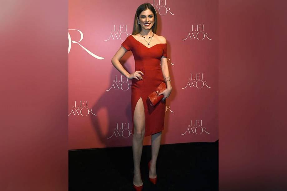 A atriz Bruna Hamu, durante a festa de lançamento da novela 'A Lei do Amor'