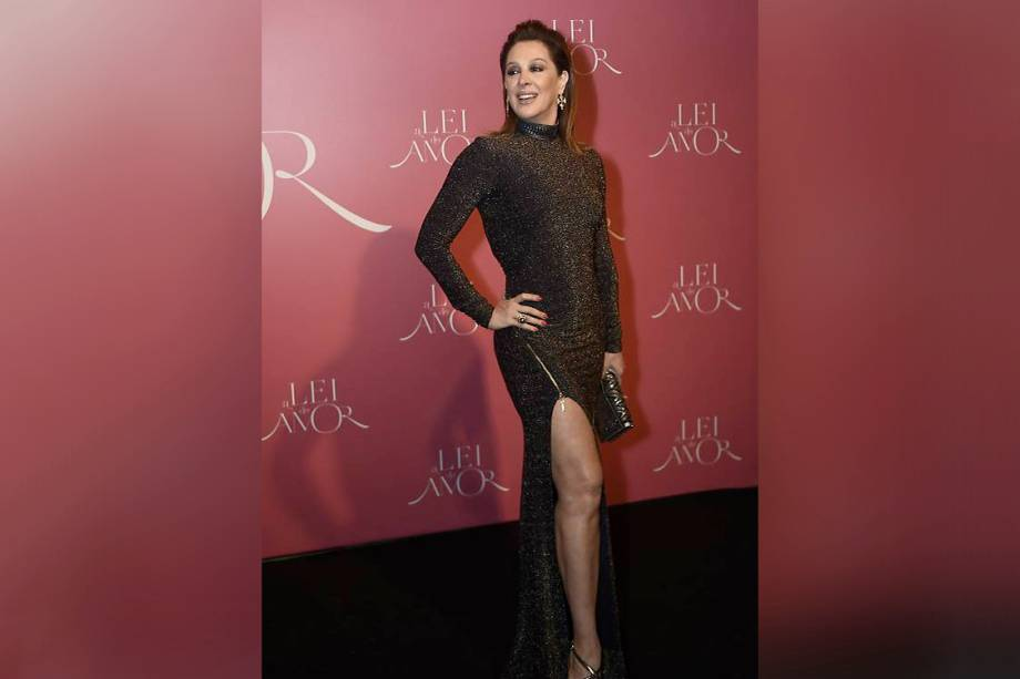 A atriz Cláudia Raia, durante a festa de lançamento da novela 'A Lei do Amor'
