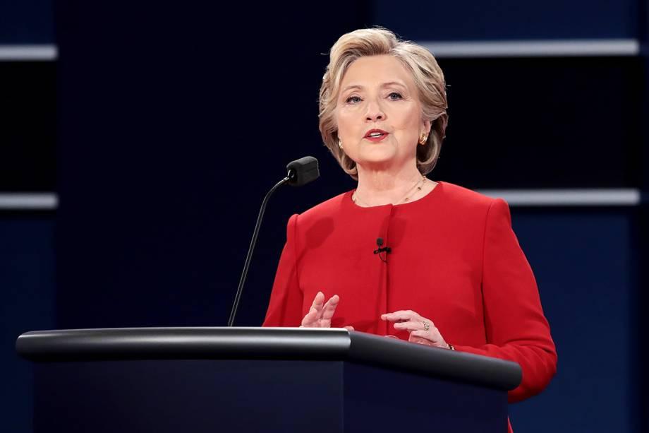 A democrata candidata à Presidência dos Estados Unidos, Hillary Clinton, durante debate em Nova York