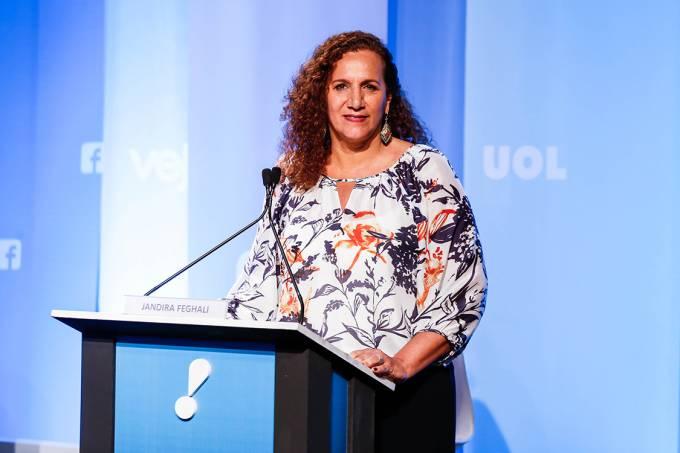 Jandira Feghali (PCdoB) durante debate dos candidatos à Prefeitura do Rio de Janeiro