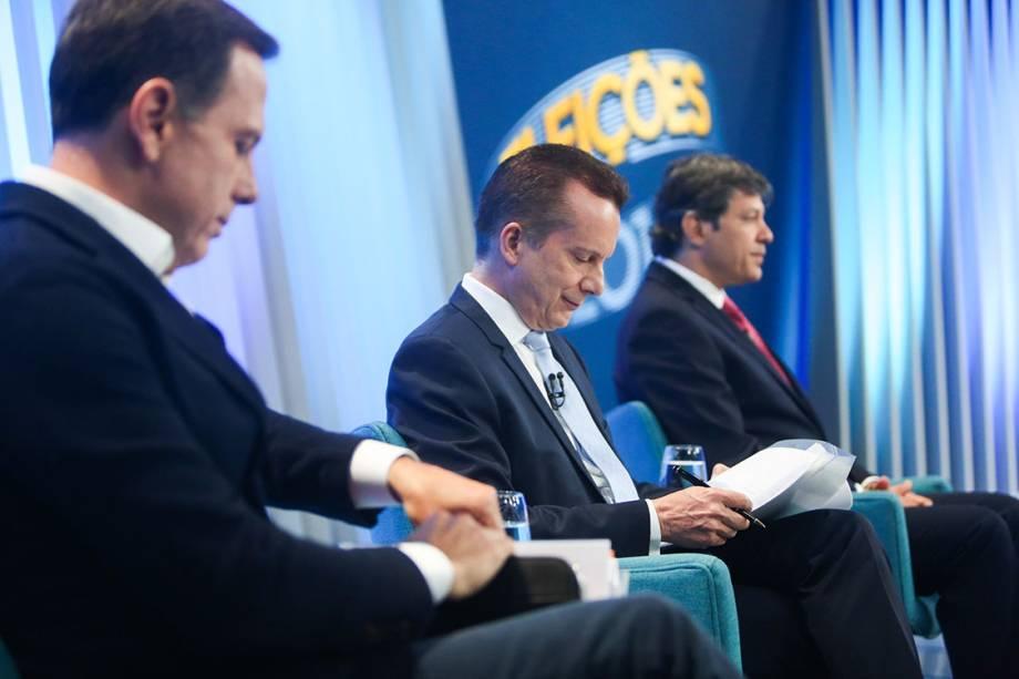 Os candidatos à Prefeitura de São Paulo, João Doria (PSDB), Celso Russomanno (PR) e Fernando Haddad (PT), durante o debate promovido pela Globo