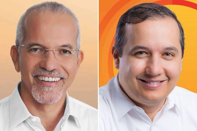 Os candidatos à Prefeitura de Aracaju, Edvaldo Nogueira (PCdoB) e Valadares Filho (PSB)