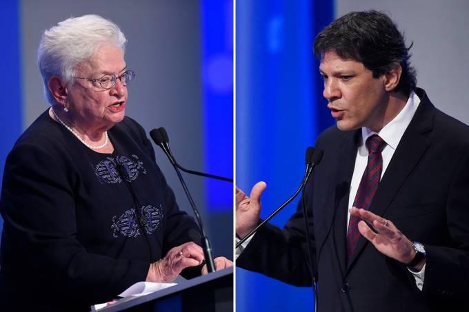 A candidata Luíza Erundina (PSOL) e o prefeito de São Paulo, Fernando Haddad (PT)