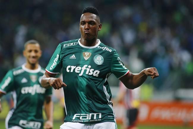 Mina, do Palmeiras, comemora com dancinha após marcar gol sobre o São Paulo, no Allianz Parque