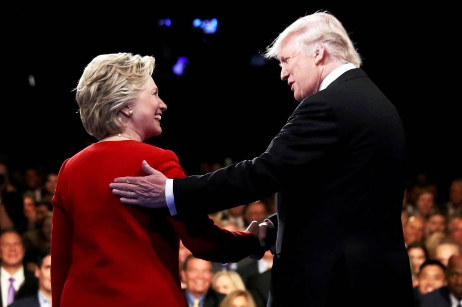 A democrata Hillary Clinton e o republicano Donald Trump, durante debate em Nova York