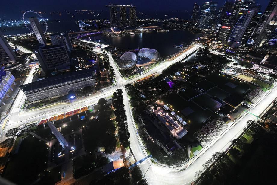 Vista aérea de Cingapura, que recebe neste fim de semana o GP noturno de F-1.  - 15-09-2016
