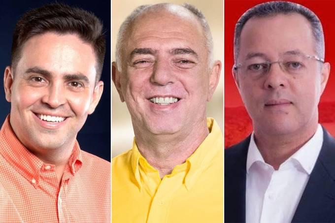 Os candidatos à Prefeitura de Porto Velho, Léo Moraes (PTB), Mauro Nazif (PSB) e Roberto Sobrinho (PT)
