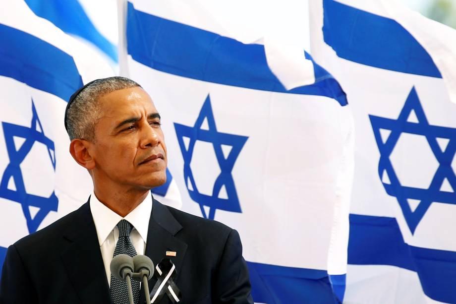 O presidente dos Estados Unidos, Barack Obama, discursa durante funeral do ex-presidente israelense Shimon Peres no Monte Herzl, em Jerusalém - 30/09/2016
