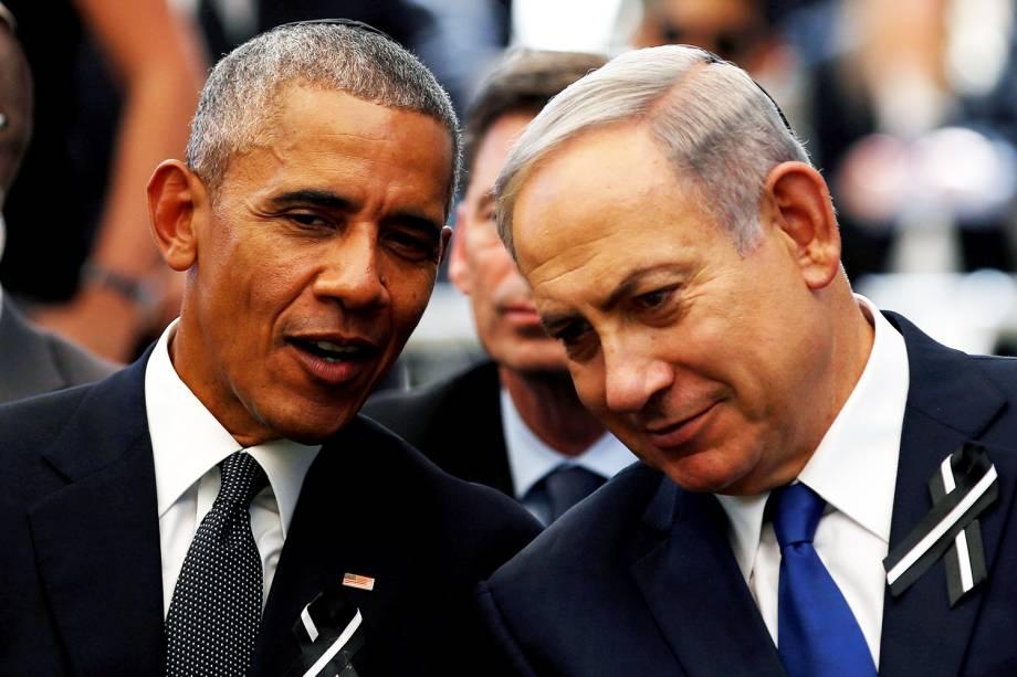 O presidente dos Estados Unidos, Barack Obama, e o primeiro-ministro israelense, Benjamin Netanyahu, durante o funeral do ex-presidente Shimon Peres - 30/09/2016