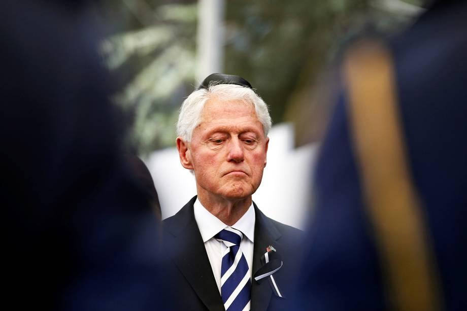 O ex-presidente dos Estados Unidos, Bill Clinton, durante funeral do ex-presidente israelense Shimon Peres no Monte Herzl, em Jerusalém - 30/09/2016
