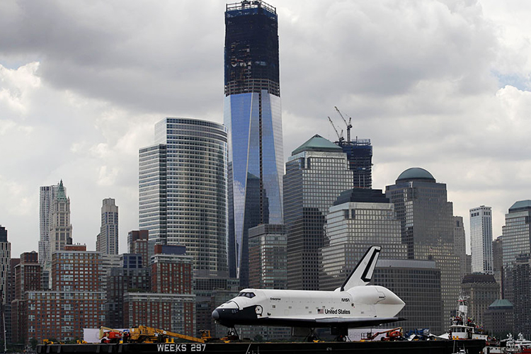 Torre 1 do novo World Trade Center em construção na Ilha de Manhattan, em Nova York. No dia 3 de novembro de 2014, o complexo comercial foi inaugurado