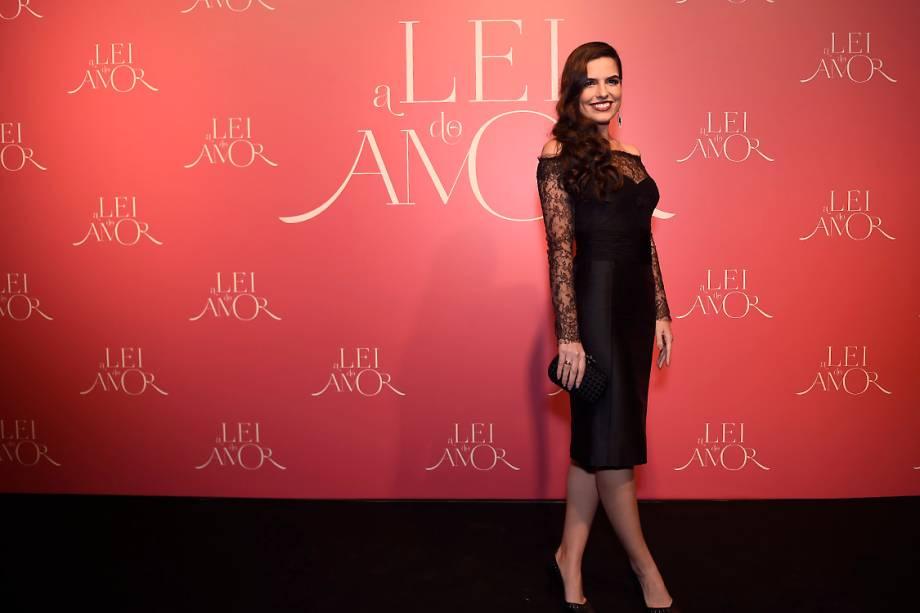 A atriz Bruna Moleiro, durante a festa de lançamento da novela 'A Lei do Amor'