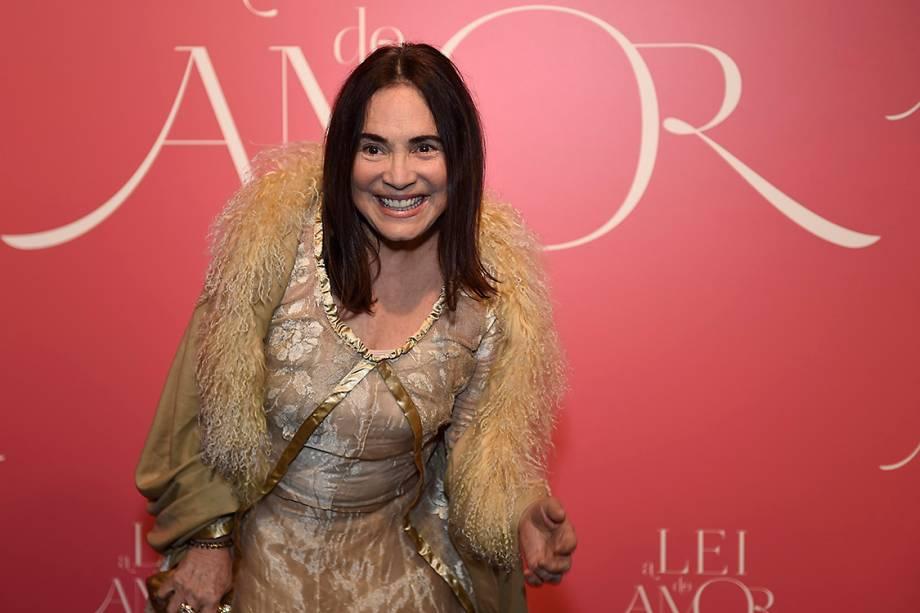 A atriz Regina Duarte, durante a festa de lançamento da novela 'A Lei do Amor'