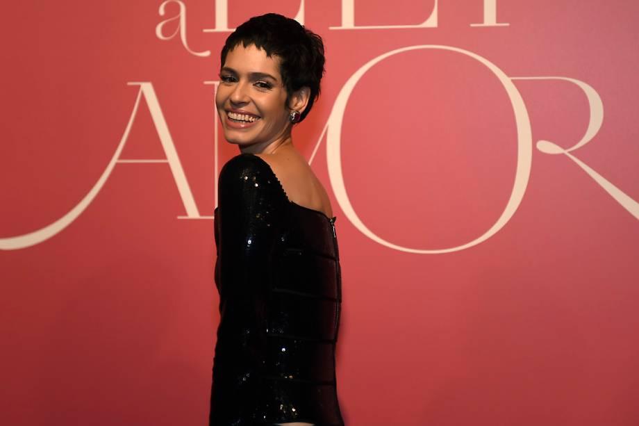A atriz Maria Flor, durante a festa de lançamento da novela 'Lei do Amor'