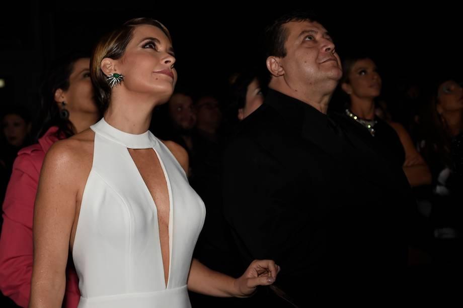 A atriz Cláudia Abreu, durante a festa de lançamento da novela 'A Lei do Amor'