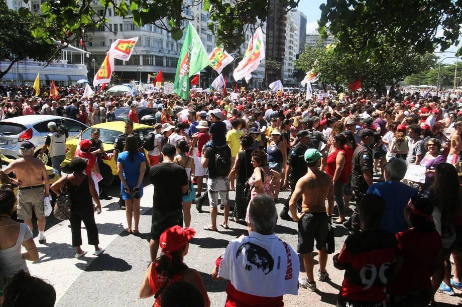 Protesto contra o governo de Michel Temer no Rio de Janeiro neste domingo.