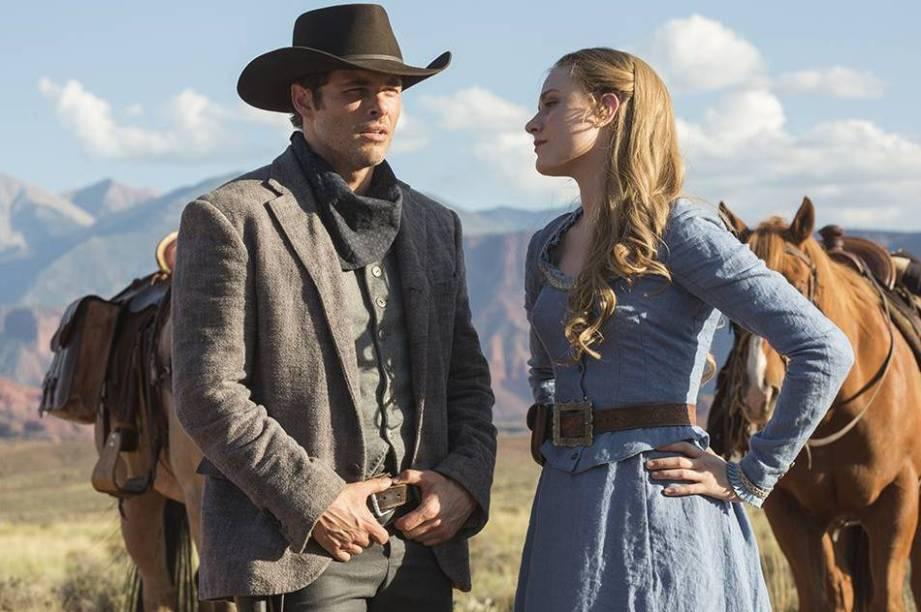 Os atores James Marsden e Evan Rachel Wood em cena da série da HBO 'Westworld'