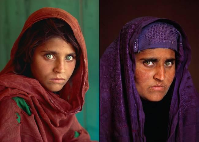 Sharbat Gula em 1984 e em 2002