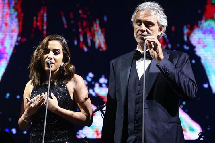Anitta se apresenta como convidada especial em show de Andrea Bocelli, em São Paulo