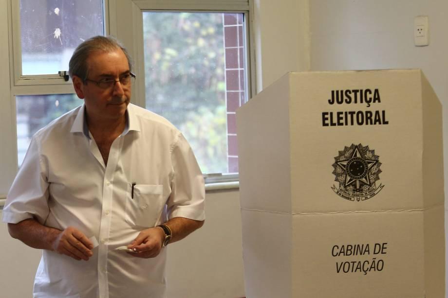 O ex-deputado e ex-presidente da Câmara, cassado em setembro, Eduardo Cunha, vota na Barra da Tijuca, zona oeste do Rio de Janeiro - 02/10/2016
