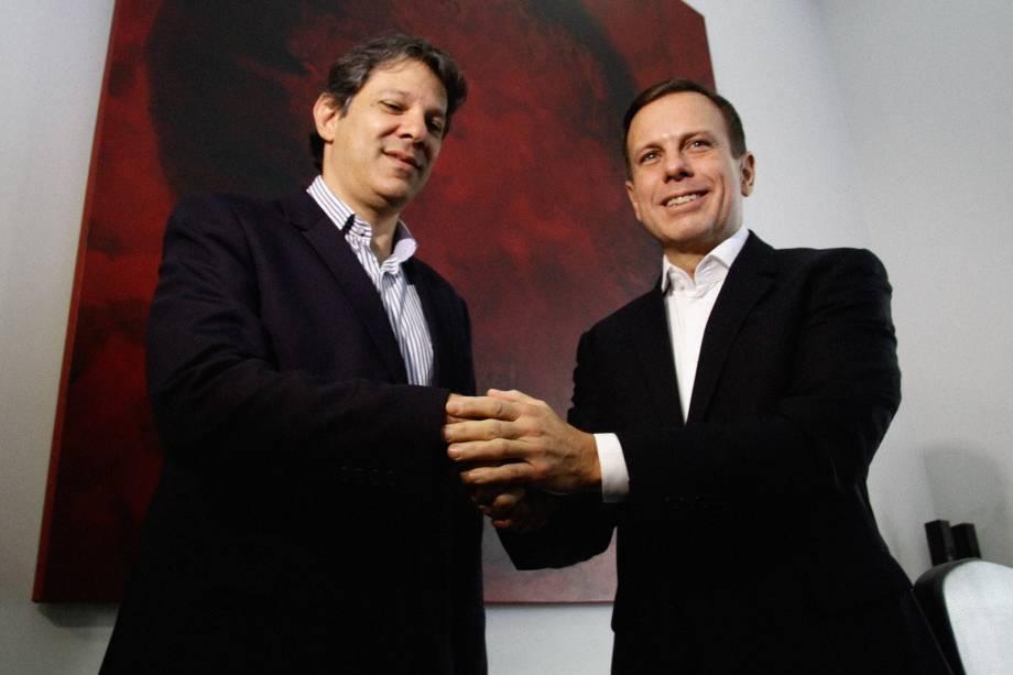 O Prefeito eleito, João Dória (PSDB), participa da reunião de transição com o prefeito Fernando Haddad (PT), na sede da Prefeitura, no centro da capital Paulista - 07/10/2016