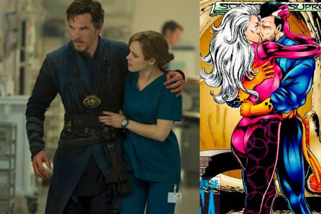 Doutor Estranho (Benedict Cumberbatch) e Christine Palmer (Rachel McAdams) ao lado da HQ do herói com Clea
