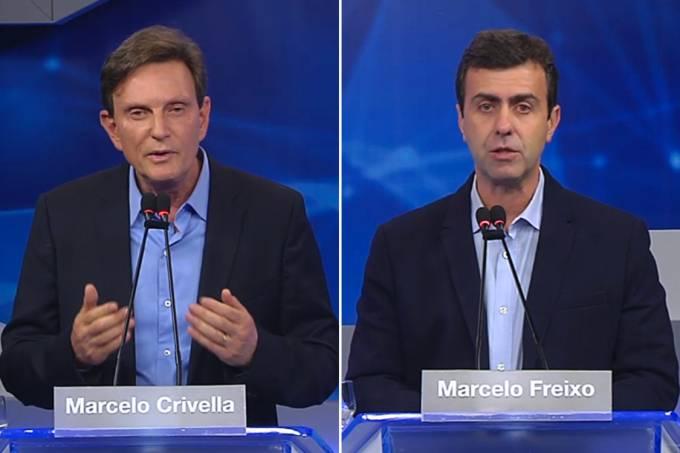 Os candidatos à Prefeitura do Rio de Janeiro, Marcelo Crivella (PRB) e Marcelo Freixo (PSOL), durante debate realizado pela Band