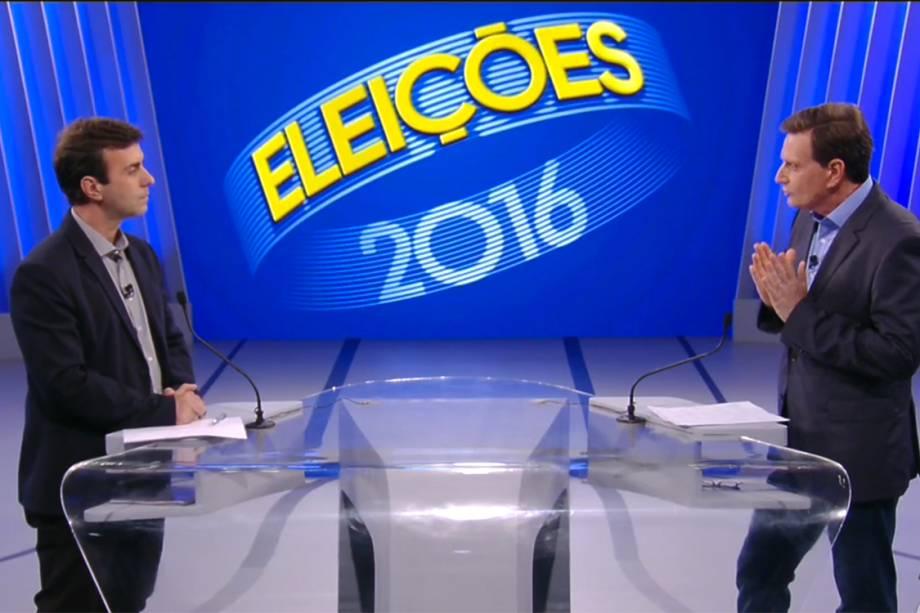 Os candidatos Marcelo Freixo (PSOL) e Marcelo Crivella (PRB) durante o debate realizado pela Rede Globo