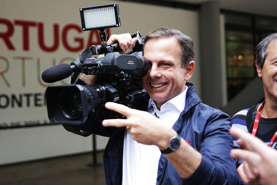 O candidato à prefeitura João Doria visita o Museu Afro-brasileiro no Parque do Ibirapuera