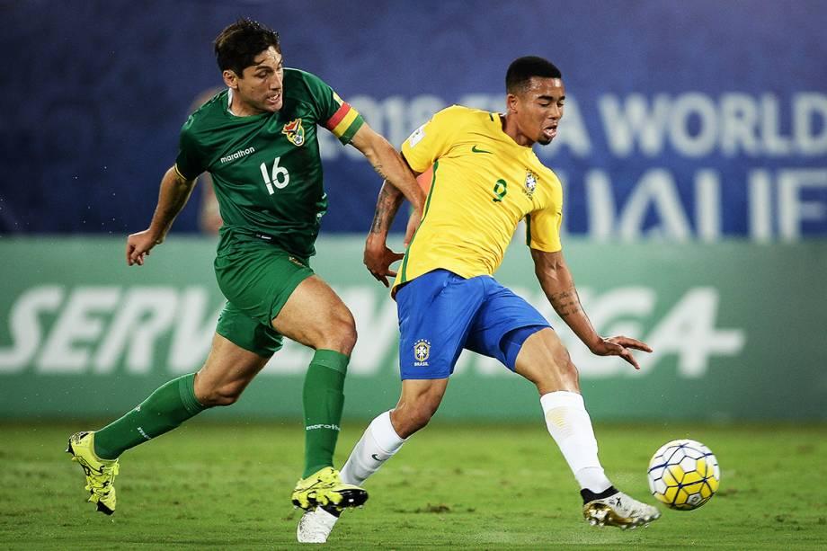 Gabriel Jesus durante o jogo contra a Bolivia pelas eliminatorias, na Arena das Dunas em Natal