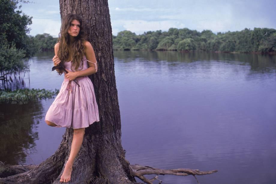Cristiana Oliveira na novela 'Pantanal', da Rede Manchete