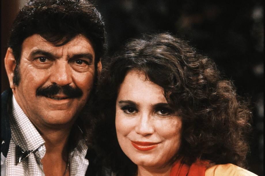 Lima Duarte e Regina Duarte na novela 'Roque Santeiro', da Rede Globo