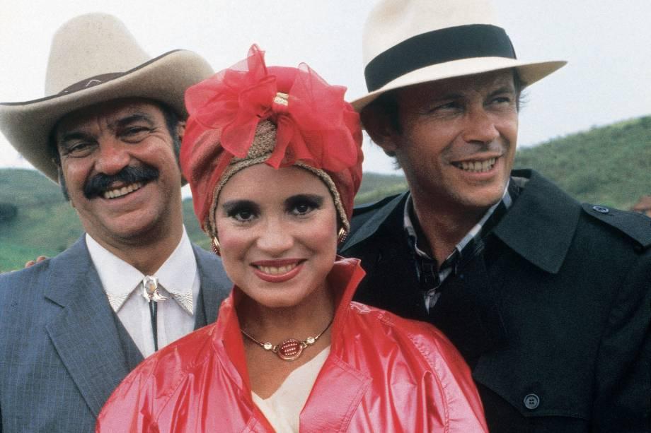 Lima Duarte, Regina Duarte e José Wilker na novela 'Roque Santeiro', da Rede Globo