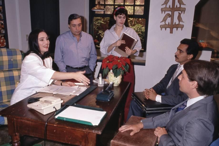 "Regina Duarte, Pedro Paulo Rangel e Paula Lavigne na novela ""Vale Tudo"", da Rede Globo."