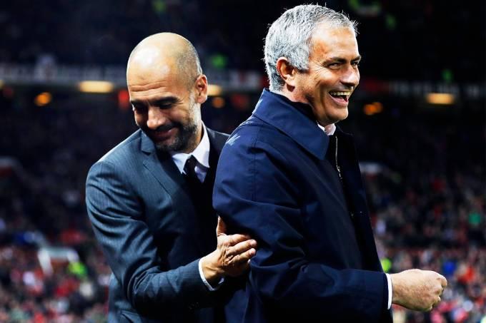 Os técnicos Pep Guardiola e José Mourinho