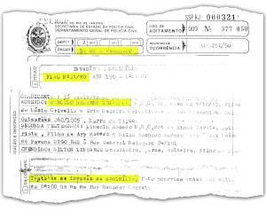 O único documento que ainda existe na microfilmagem da Polícia Civil remete ao flagrante número 023/1990, feito na 9ªDP (Catete). O caso trata de invasão de domicílio (artigo 150) e indica que a prisão do então engenheiro da Igreja Universal, Marcelo Crivella, ocorreu por volta das 9h, na Rua Senador Correia, em Laranjeiras