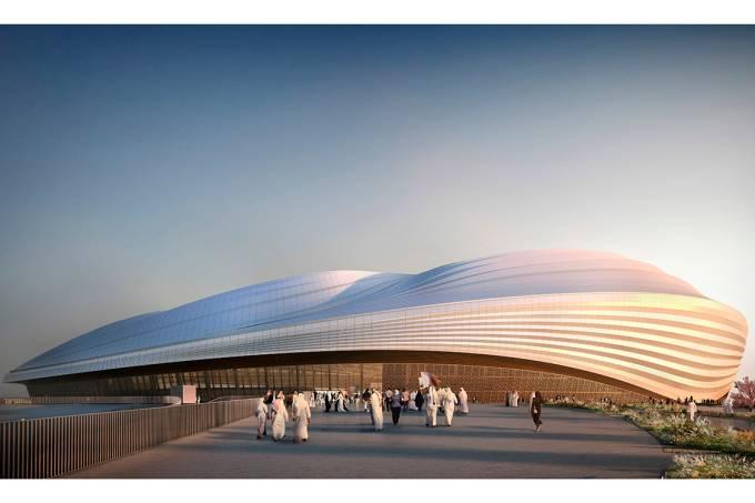 Arte digital mostra previsão de como será o Estádio Wakrah, no Catar