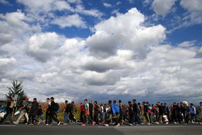Imagens do dia – Refugiados e imigrantes caminham na fronteira entre Sérvia e Hungria