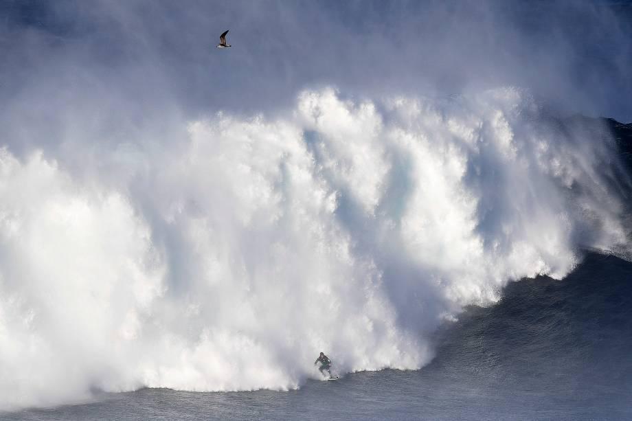 Homem pratica surf em meio a ondas gigantes, na Praia do Norte, na vila portuguesa de Nazaré - 24/10/2016