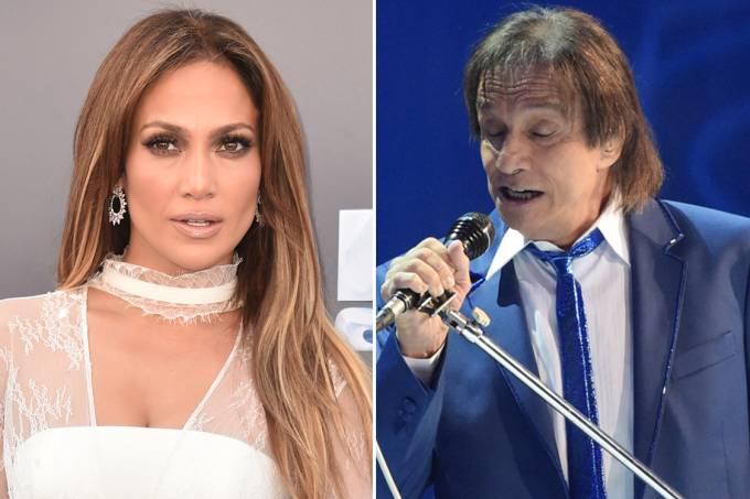 Os cantores Jennifer Lopez e Roberto Carlos